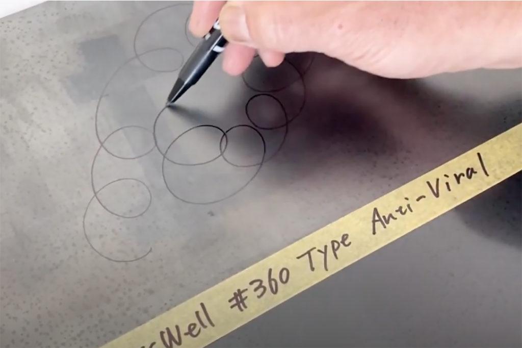 GlossWell 抗除菌特殊塗料 : 施工後の塗膜の存在を確認する方法